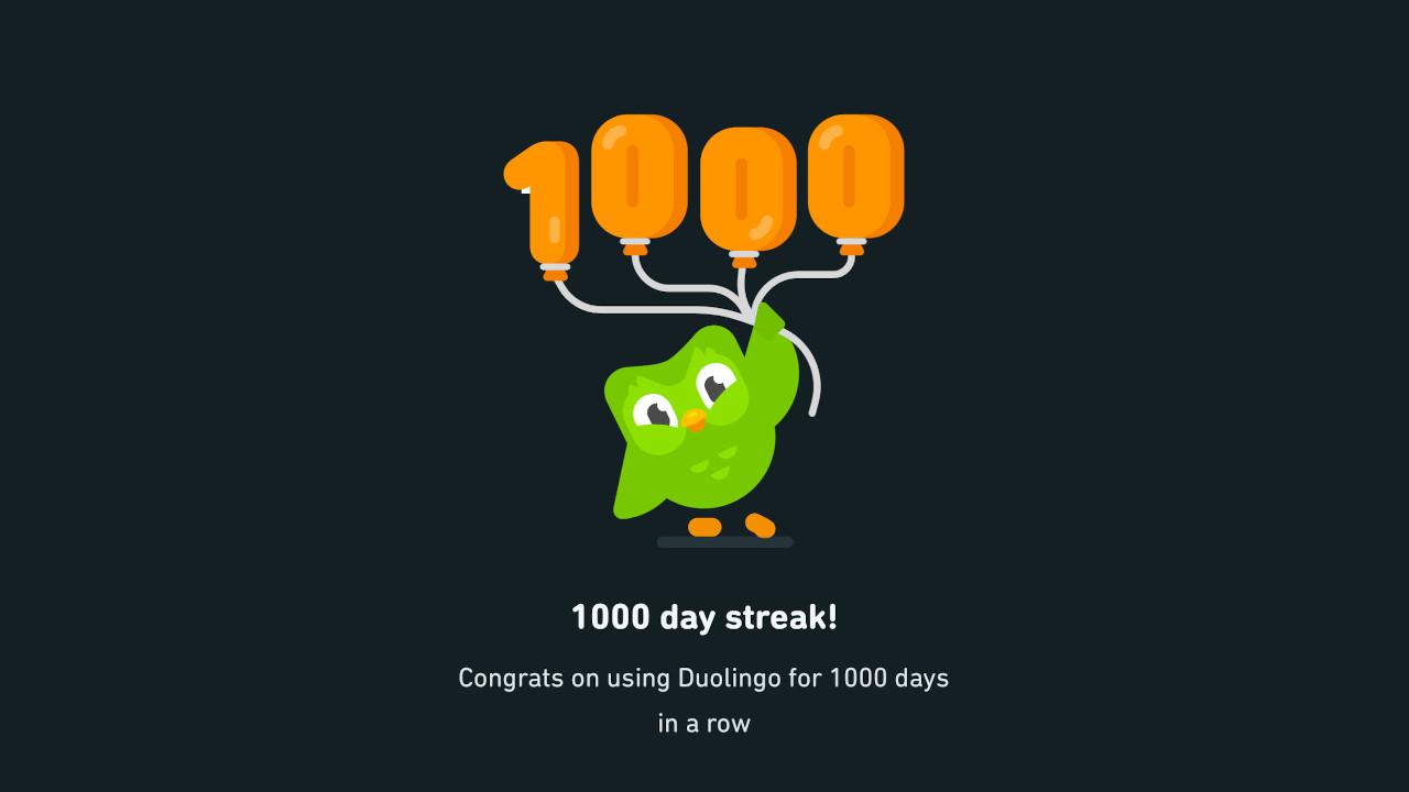 Duolingo Congratulations Screen for a 1000-day streak