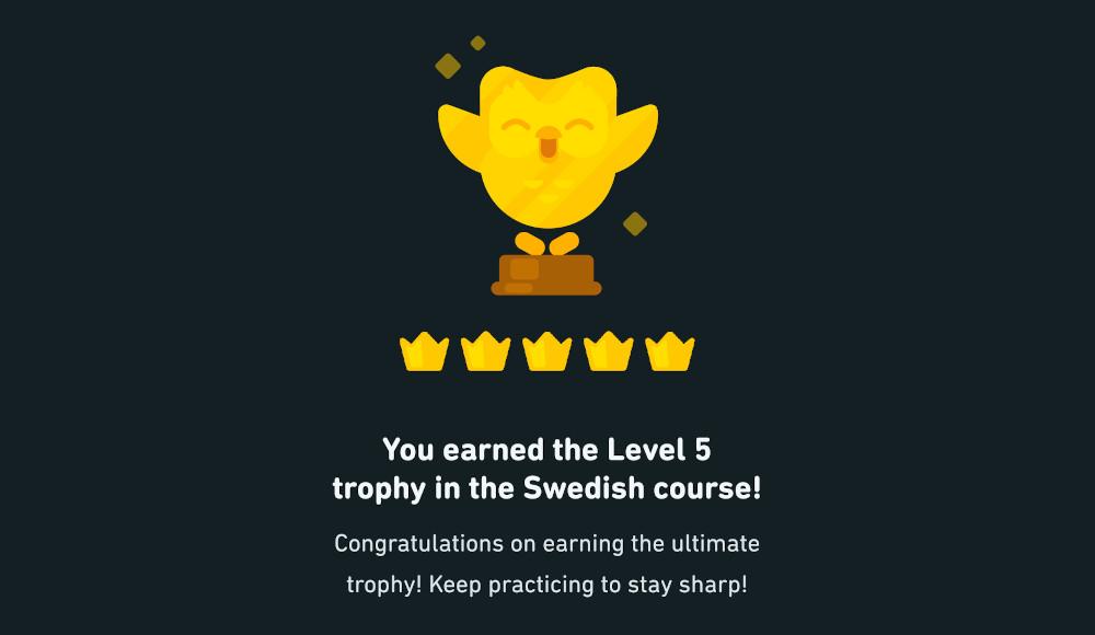 Screenshot of my Swedish Duolingo Trophy